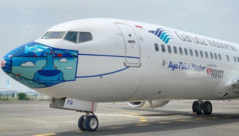 Garuda Gets Public To Wear Masks By Putting Some On Aircrafts